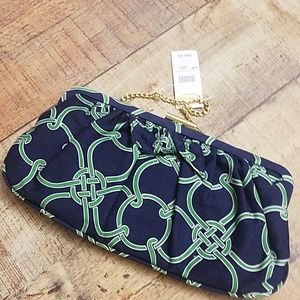Talbots green and blue clutch nwt
